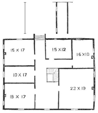 Southern plantation home second-floor plan.